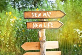 Wooden direction sign: NEW WAY, NEW  LIFE